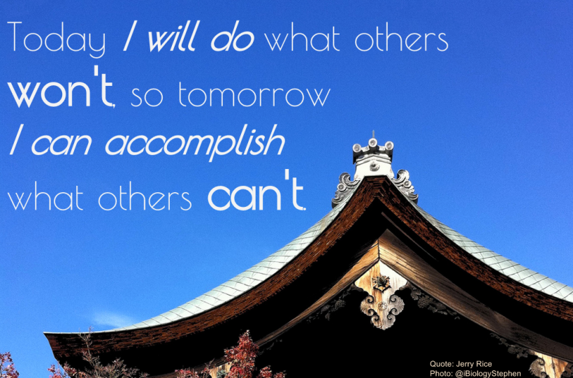 I like this quote, and have it up in my lab. The photo is the roof of a temple nearby.