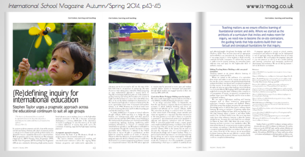 Click to read my article on Inquiry in the Autumn | Spring issue of International School magazine.